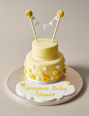 Personalised Button Bunting Cake In Yellow White Serves 20 M S