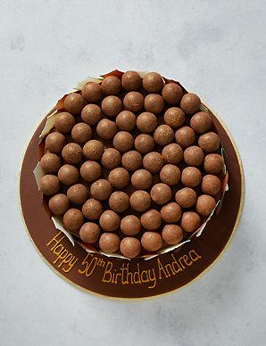 Personalised Chocolate & Salted Caramel Truffle Brush-Stroke Cake (Serves  28)