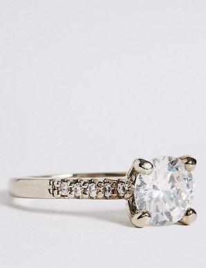 dc08a46cb2d0d Platinum Plated Diamanté Ring