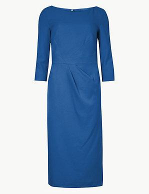 9beb5e0e91d Pleated 3 4 Sleeve Bodycon Dress