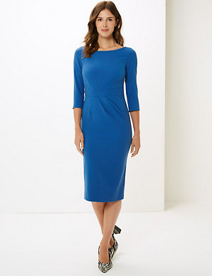 cf5a9e02ea Pleated 3/4 Sleeve Bodycon Dress | M&S Collection | M&S