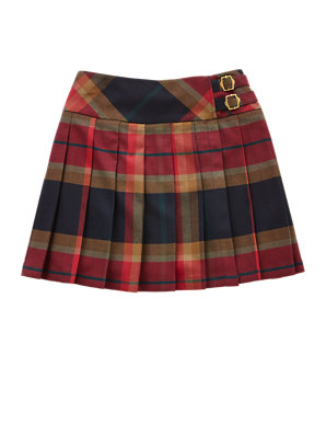6281f9d6c Pleated Tartan Checked Skater Skirt (5-14 Years)   Indigo Collection   M&S