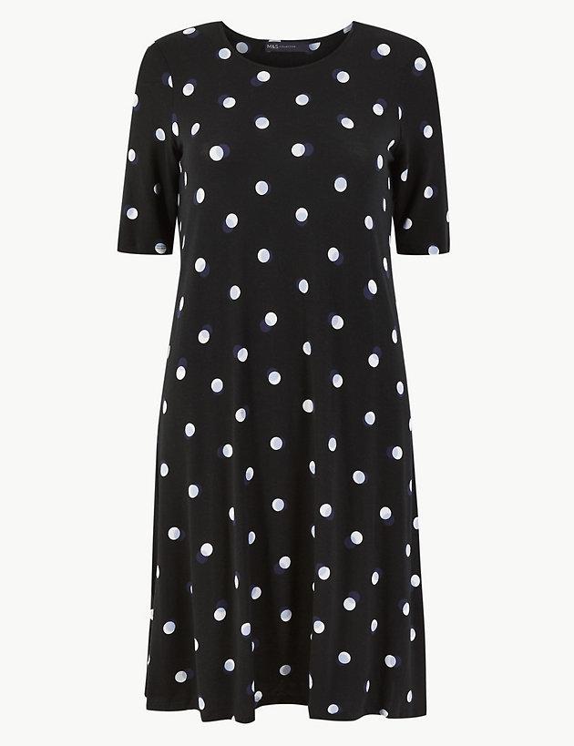 Polka Dot Jersey Swing Dress