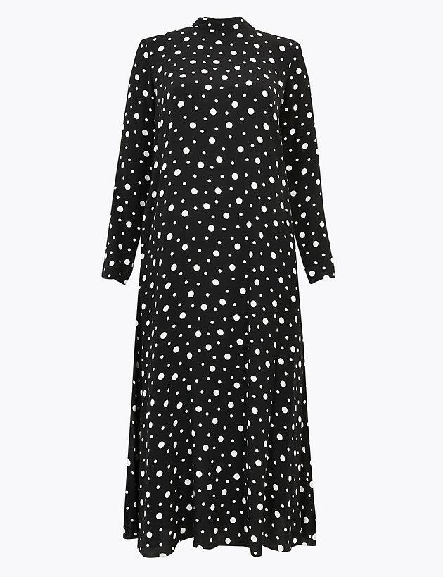 Polka Dot Relaxed Midi Dress
