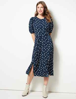 Polka Dot Tie Waist Midi Dress