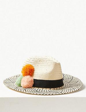 5ae196af5c8498 Pom-Pom Fedora Hat | M&S Collection | M&S