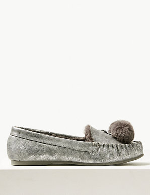 8a0f71276 Pom-Pom Moccasin Slippers | M&S Collection | M&S