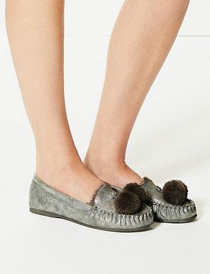 30fcf336e3af Pom-Pom Moccasin Slippers