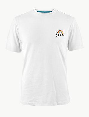 9b9888734a25 Pride Rainbow Cotton Print T-Shirt   M&S Collection   M&S