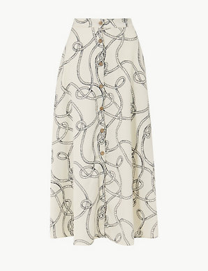 78453843fa Printed Button Detailed A-Line Maxi Skirt | M&S Collection | M&S