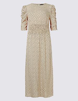 ac76b6d8285 Printed Half Sleeve Midi Dress