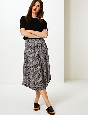 1a319abd5296 Printed Jersey A-Line Midi Skirt | M&S Collection | M&S