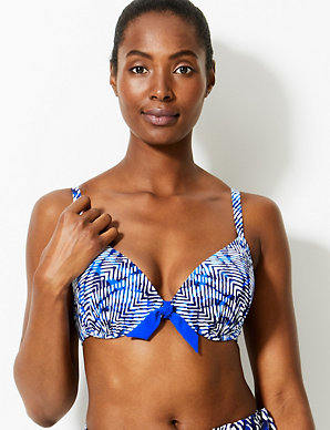 e947bf45f7440 Printed Plunge Bikini Top A-G | M&S Collection | M&S