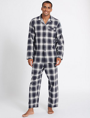 409007780 Pure Brushed Cotton Checked Pyjama Set | M&S Collection | M&S
