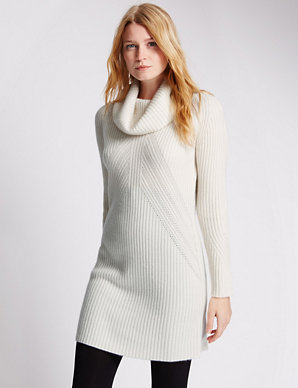 db95a80e444 Pure Cashmere Cowl Neck Ribbed Knitted Tunic | M&S Collection | M&S
