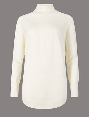 97081a89cbd426 Pure Cashmere Curved Hem Funnel Neck Jumper | Autograph | M&S