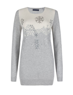 9443381102d Pure Cashmere Snowflake Diamanté Christmas Jumper | M&S Collection | M&S