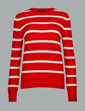 0fb18e4d5be2de Pure Cashmere Striped Round Neck Jumper | Autograph | M&S