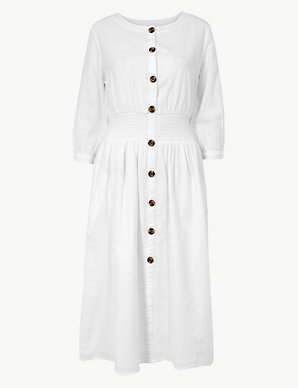 d18f18f000ec Pure Cotton 3/4 Sleeve Waisted Midi Dress | M&S Collection | M&S