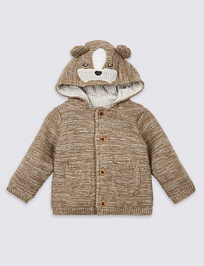 a3316f34cfec Pure Cotton Animal Face Chunky Cardigan   M&S