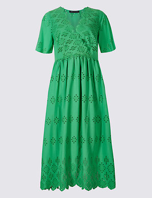 49e0a73f9fd Pure Cotton Broderie Skater Midi Dress | M&S Collection | M&S