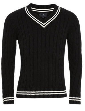 036b1a66efe Pure Cotton Cable Knit Cricket Jumper