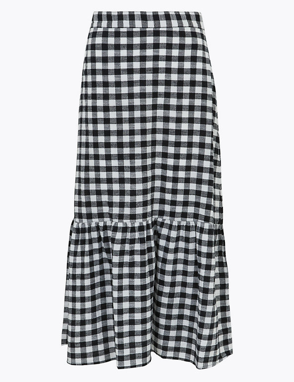 Pure Cotton Checked Midi Skater Skirt Image 1 of 1