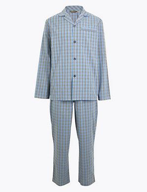 Men/'s M/&S Marks and Spencer Pure Cotton Pyjamas PJ/'s Long Pants Set RRP £27.50