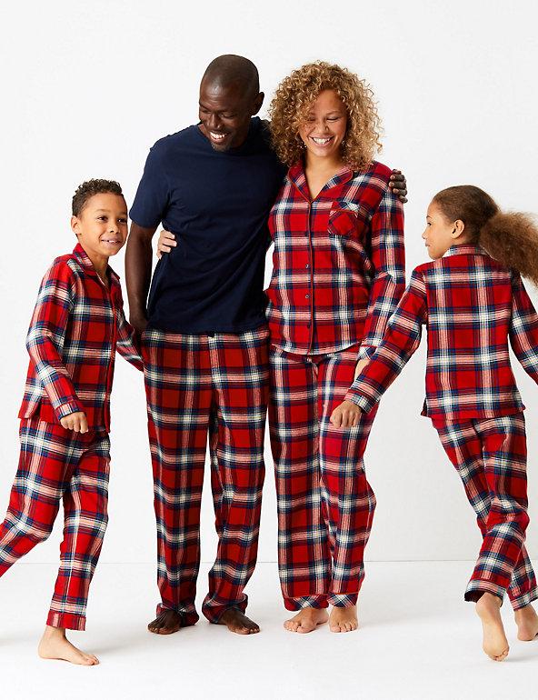 Details about  /M/&S COLLECTION T07 3111 Unisex loungewear Pure Cotton Checked Pyjama Set M