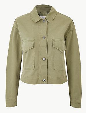0e255083c Pure Cotton Cropped Utility Jacket
