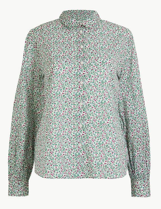 Pure Cotton Ditsy Floral Peplum-Back Shirt