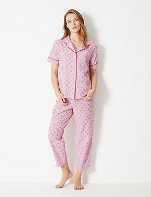 2b8c0409b48 Pure Cotton Dobby Revere Collar Pyjama Set
