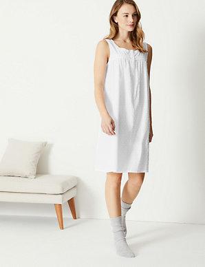e6f7cb159560 Pure Cotton Dobby Short Nightdress | M&S Collection | M&S