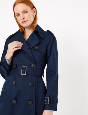 Pure Cotton Double Ted Trench Coat, Navy Trench Coat Ladies