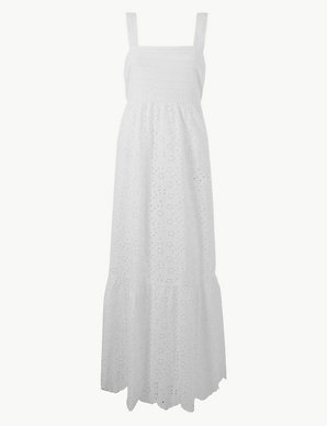Pure Cotton Embroidered Waisted Maxi Dress