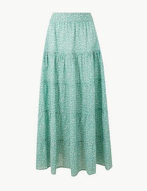 10c23fa15b Pure Cotton Floral Maxi Fit & Flare Skirt | Per Una | M&S