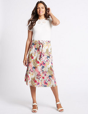 714168f3d2 Pure Cotton Floral Print A-Line Midi Skirt