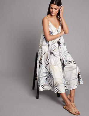 aec94bb6cd5cf Pure Cotton Floral Print Swing Midi Dress   Autograph   M&S