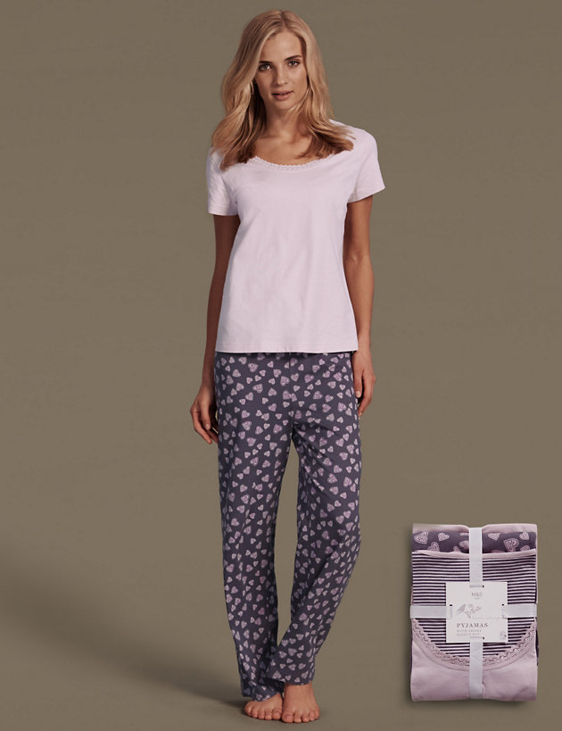 LADIES M/&S SIZES 10 12 14 OR 16 COTTON FULL LENGTH PYJAMA BOTTOMS FREE POST NEW