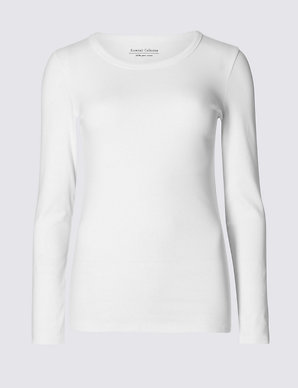 084d8c175906 Pure Cotton Long Sleeve Regular Fit T-Shirt | M&S Collection | M&S