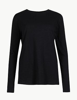 e29d729d213 Pure Cotton Long Sleeve Straight Fit T-Shirt