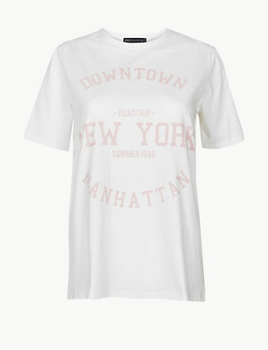 35b653bf Pure Cotton Manhattan Straight Fit T-Shirt | M&S Collection | M&S