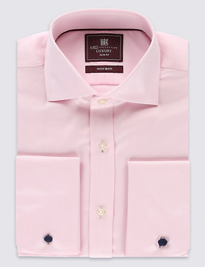 1eea20a6d985 Pure Cotton Non-Iron Slim Fit Shirt | M&S Collection Luxury | M&S