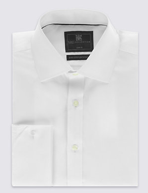 154df435 Pure Cotton Non-Iron Twill Slim Fit Shirt | M&S Collection | M&S