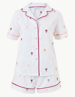 6b0b7c16212 Pure Cotton Palm Revere Collar Short Pyjama Set