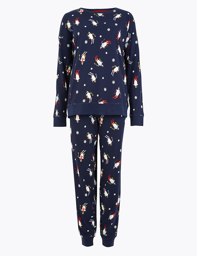 Pure Cotton Penguin Print Pyjama Set