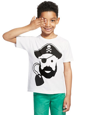 386263762 Pure Cotton Pirate Boys T-Shirt | M&S