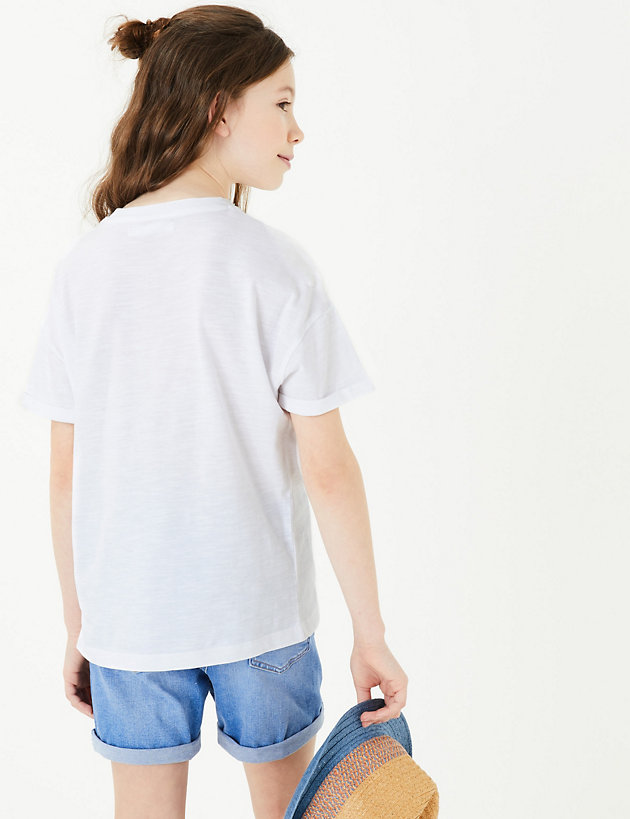 Girls Pink Unicorn I Smell Rainbows Print Soft Cotton T-Shirt 6-16