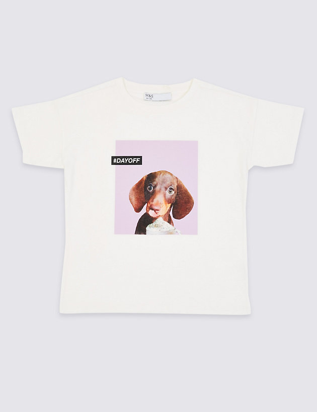 Pure Cotton Sausage Dog Printed T-Shirt (3-16 Years)