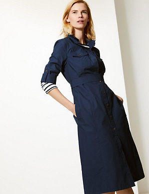de79f6e087a Pure Cotton Shirt Midi Dress